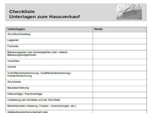 Checkliste Hausverkauf Unterlagen