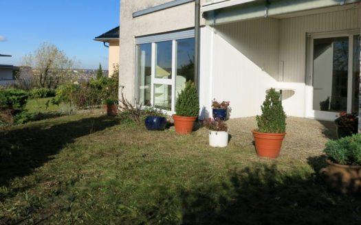 Steinterrasse mit unterschiedlichen Pflanzenkübeln und Garten