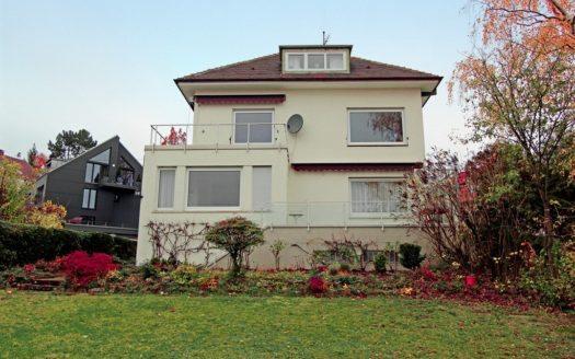 Blick vom Garten auf großzügig geschnittenes Mehrfamilienhaus