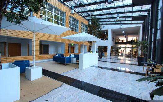 Ansicht der Empfangraumes und des Wartebereiches mit Sonnenschirmen und Glasdachkonstruktion