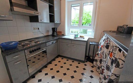 Graue Küche im Retro-Stil mit Plattenherd