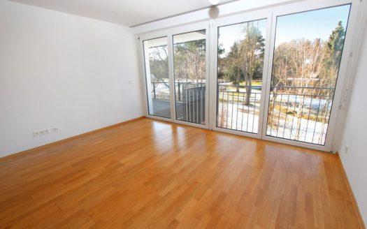 Unmöbliertes Zimmer mit heller Fensterfront und Blick auf den Garten