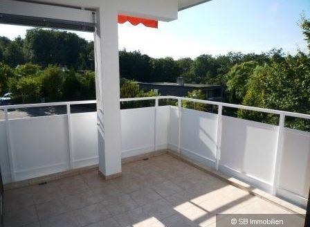 Sonniger Balkon mit Wald im Hintergrund