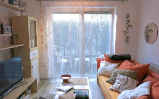 Wohnbereich mit Terrassenzugang, Couch und Schrankwand